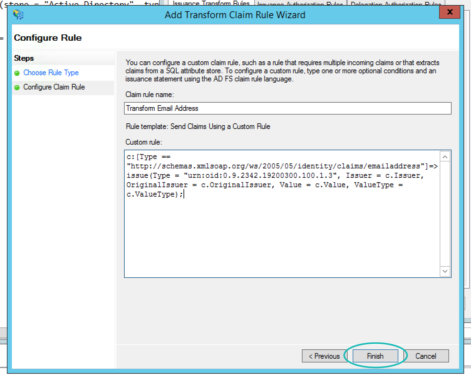 Teem ADFS Add Transform Claim Rule Wizard Custom Rule Second Page
