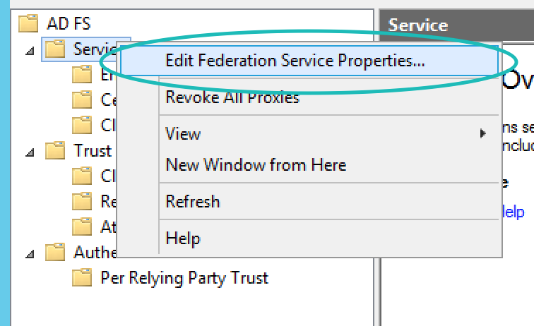 Teem ADFS Edit Federation Service Properties Menu Item
