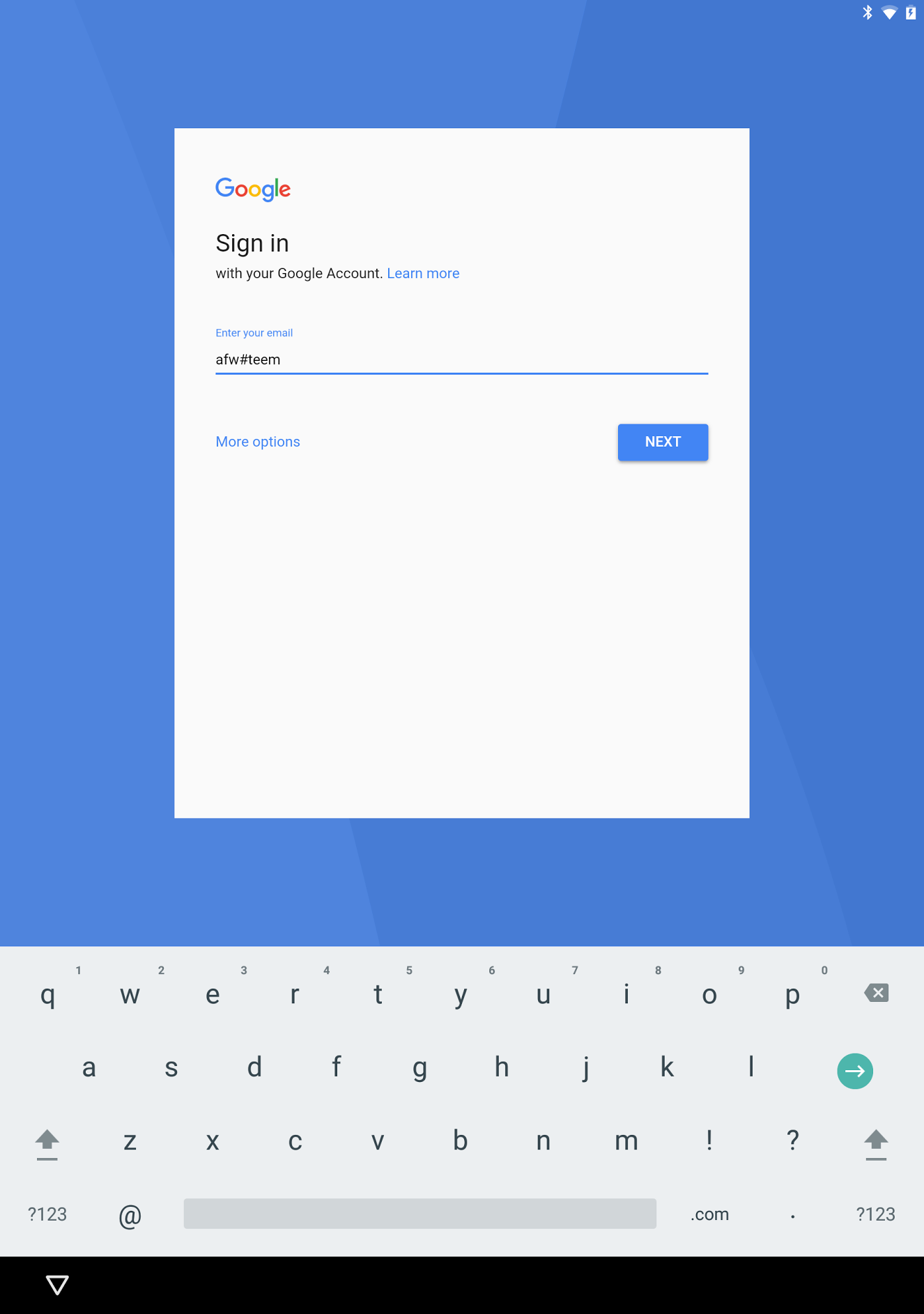 Android for Work Login Screen