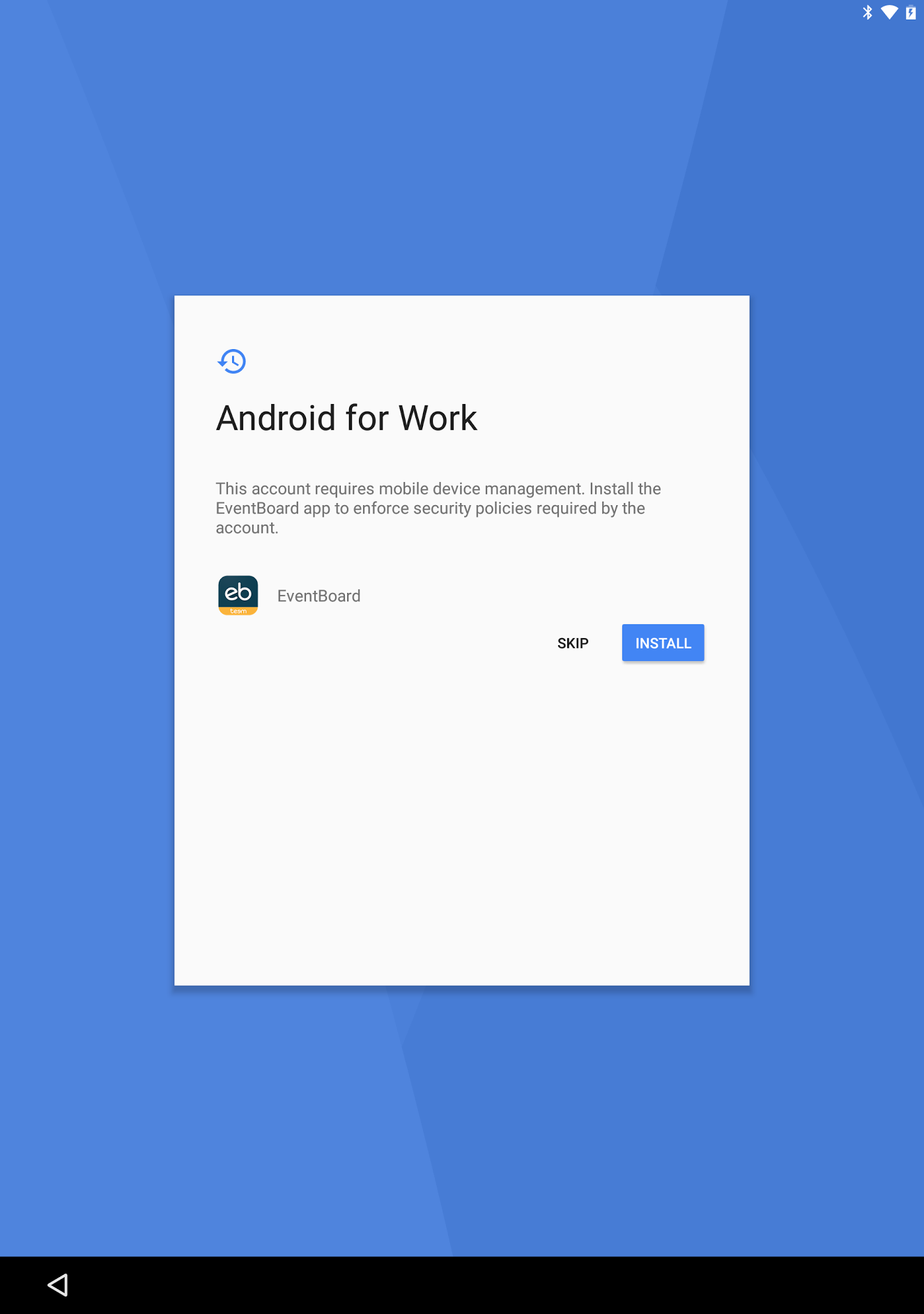 Androind for Work Account Install Screen