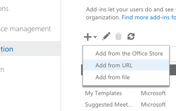 Add add-in by url exchange center admin