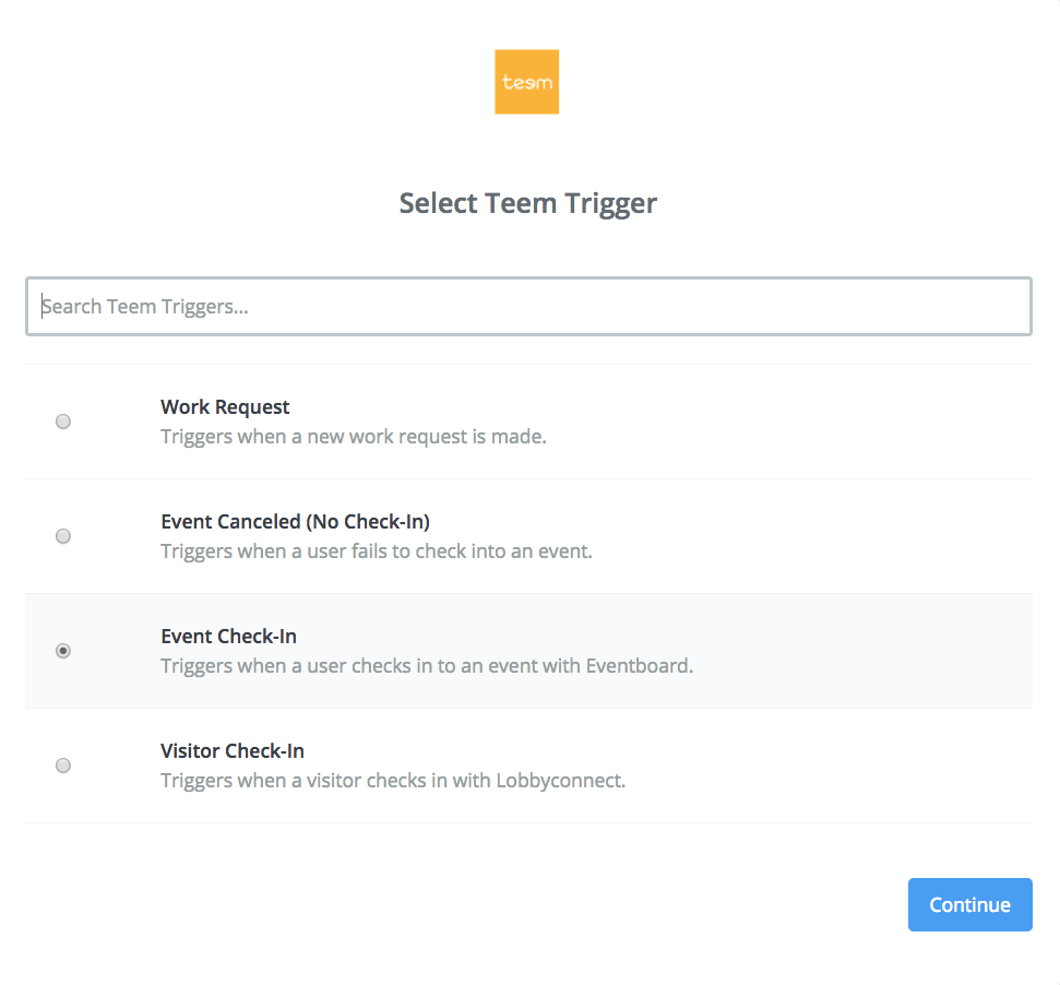 Selecting Teem Trigger from Zapier