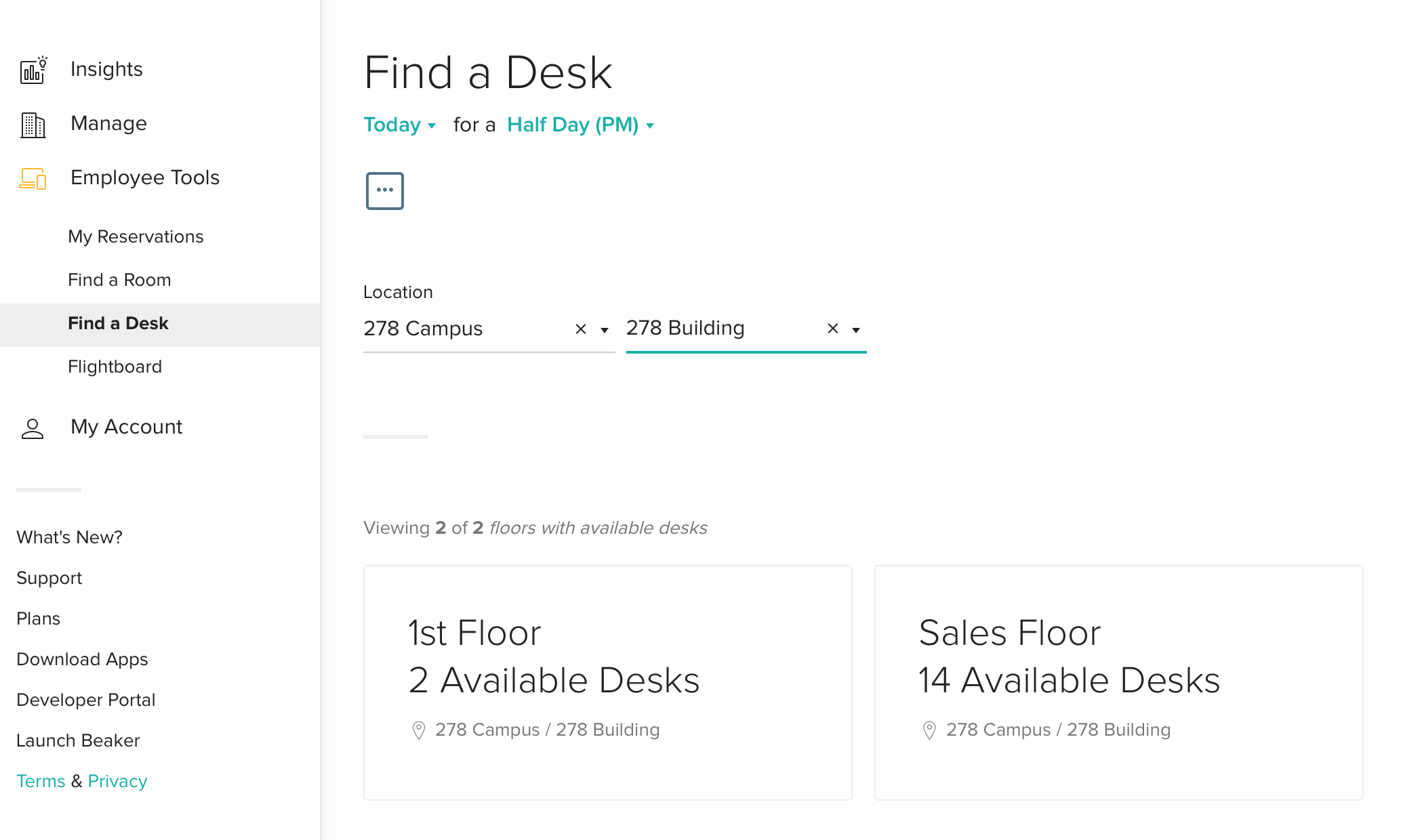 Find a Desk Options Page