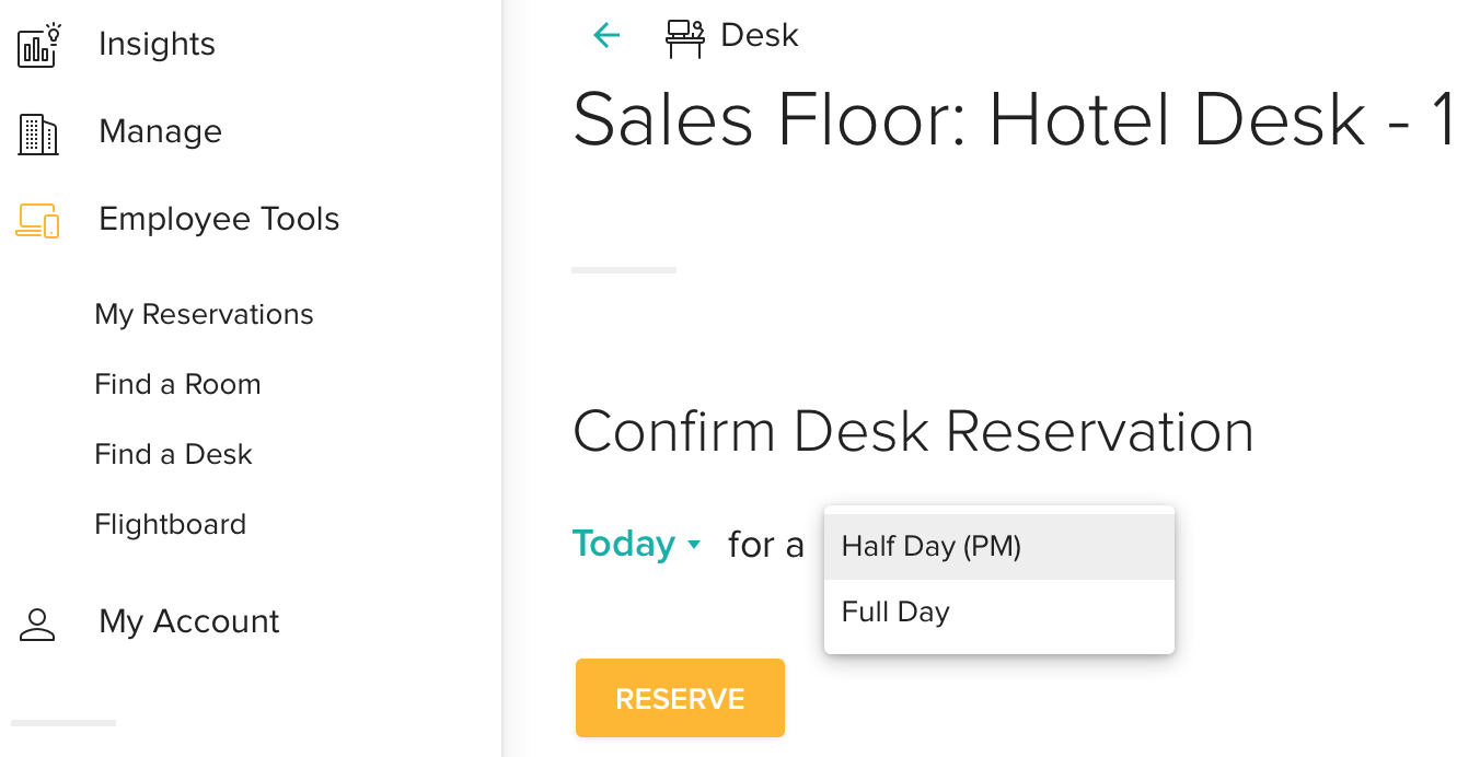 Desk Reservation Screen