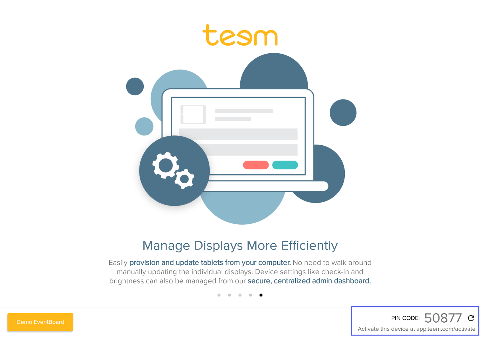 Teem App Splash Screen with Pin Code