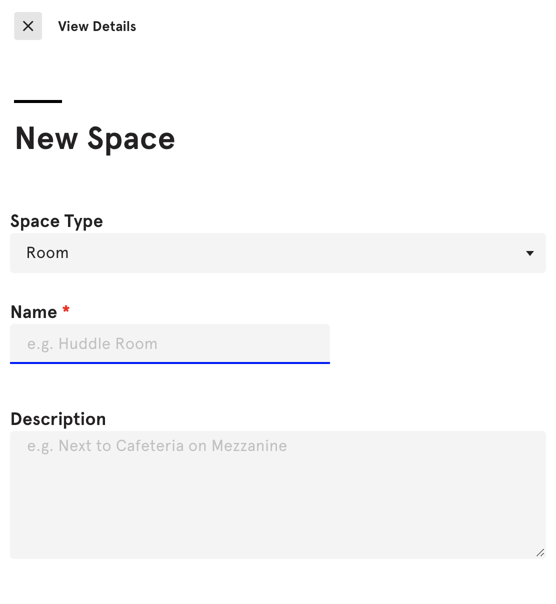 New Space Details Box