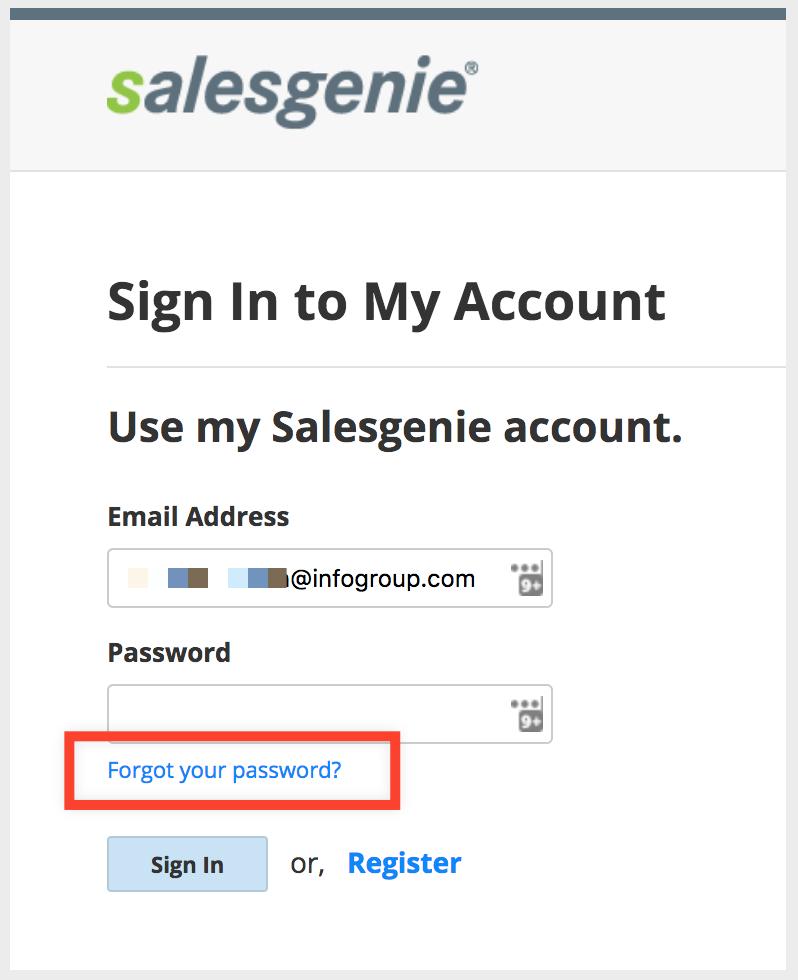 Salesgenie — How do I reset my password?