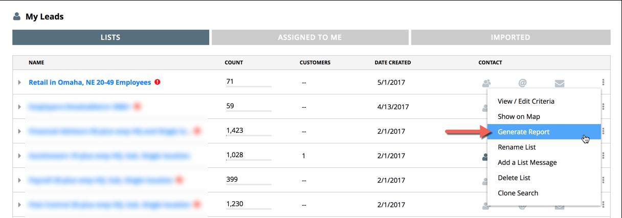 Salesgenie — How can I generate a report with Salesgenie Team?