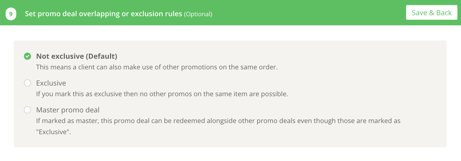 Promotion settings and scenarios 7