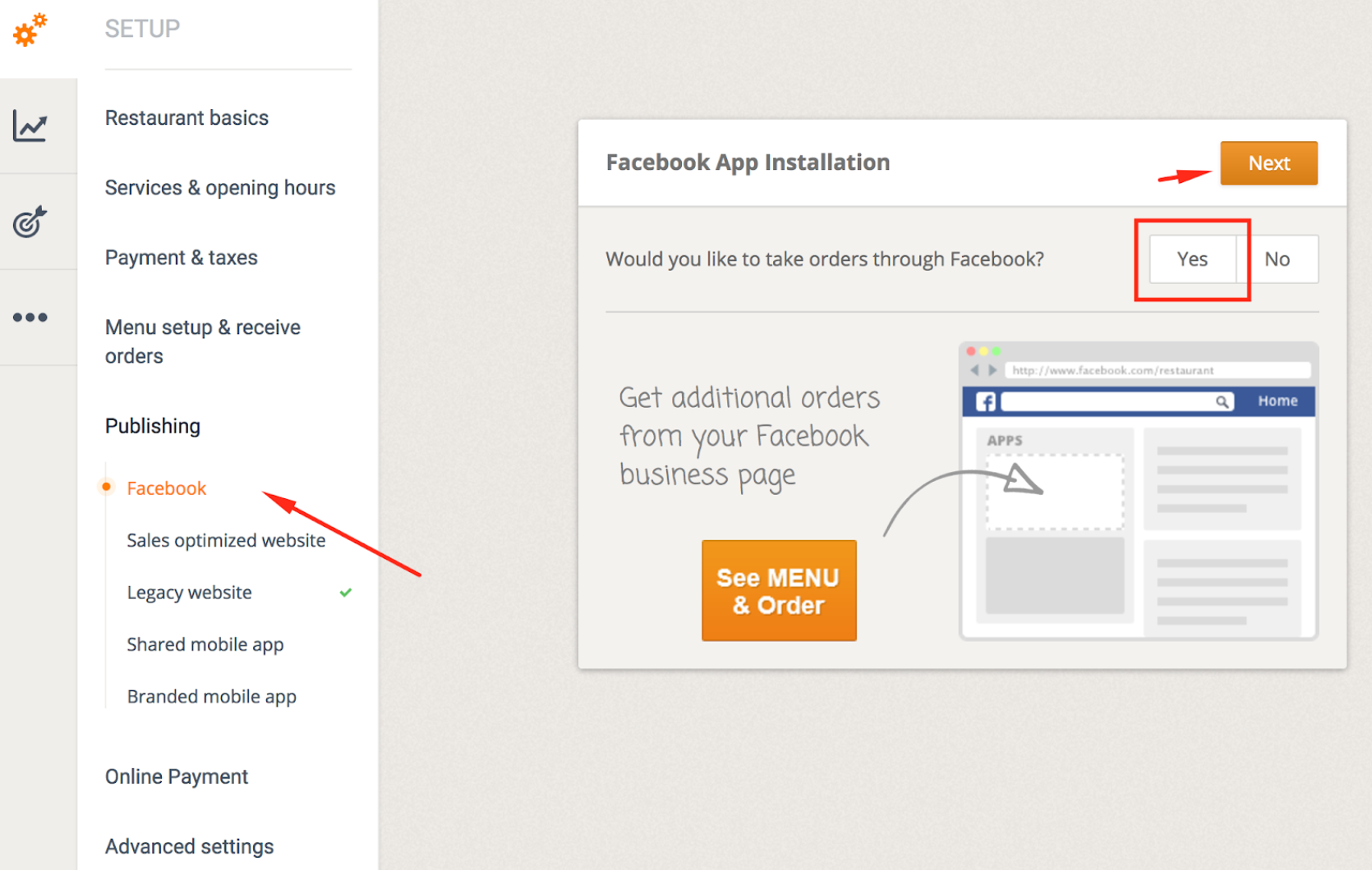 How to publish the menu to your Facebook page 1