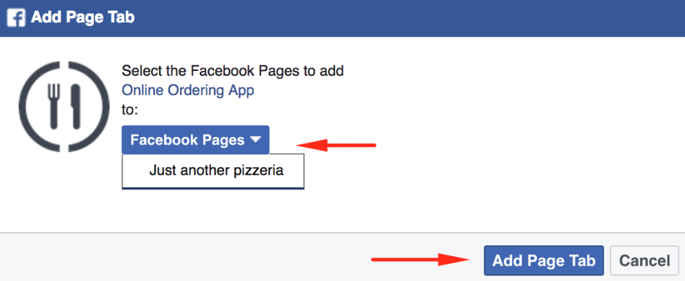 How to publish the menu to your Facebook page 4