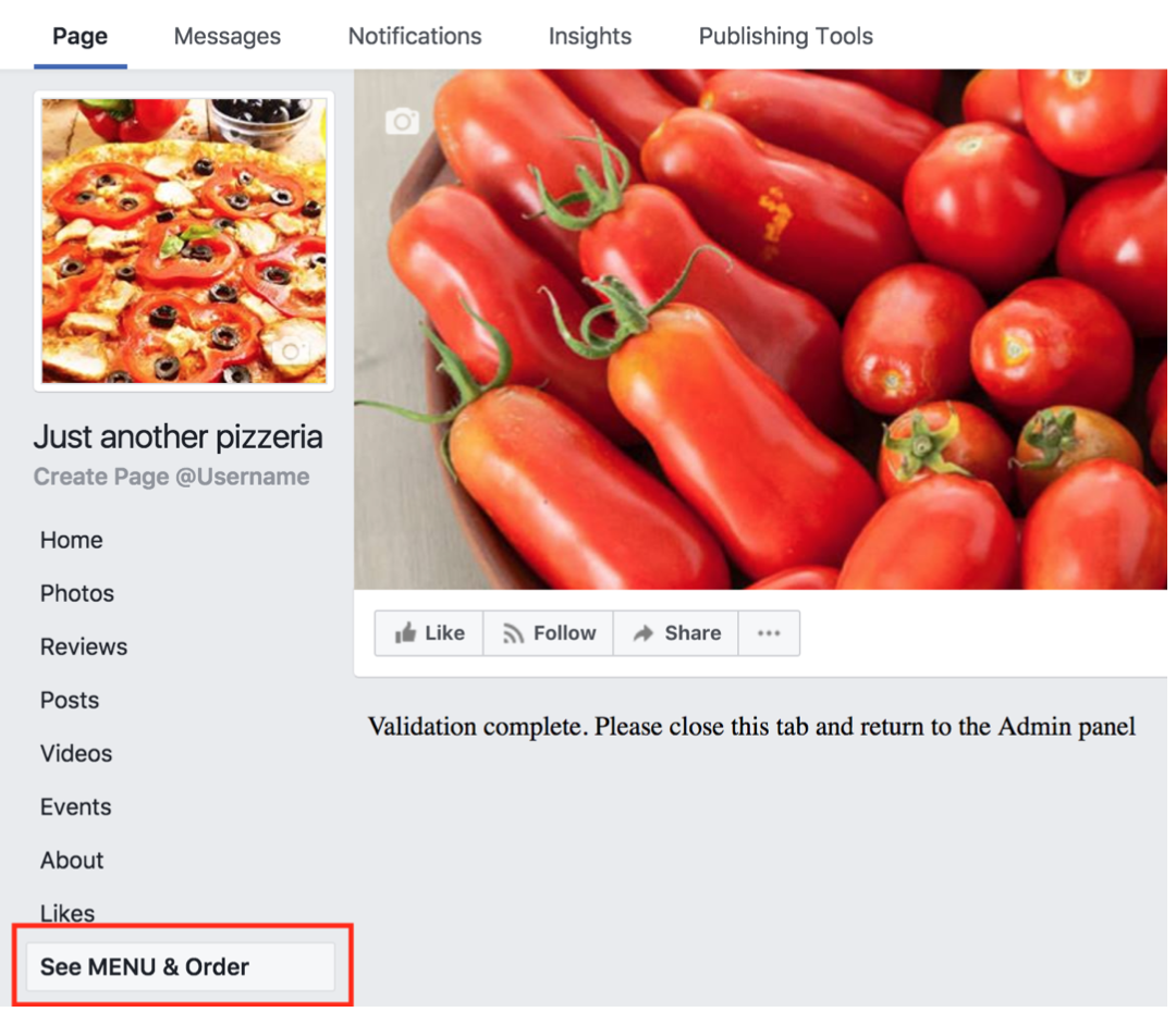 How to publish the menu to your Facebook page 6