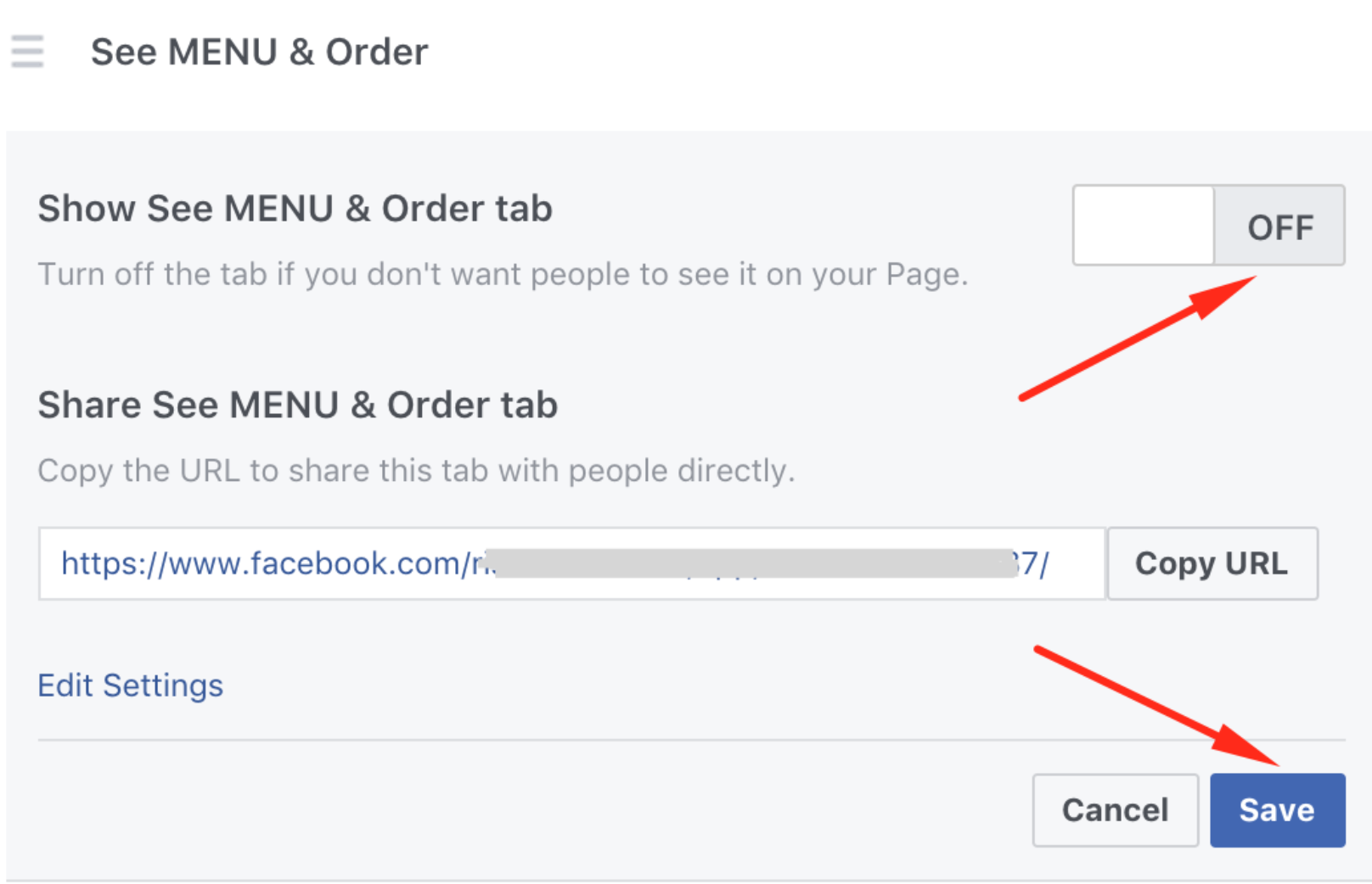 How to publish the menu to your Facebook page 12