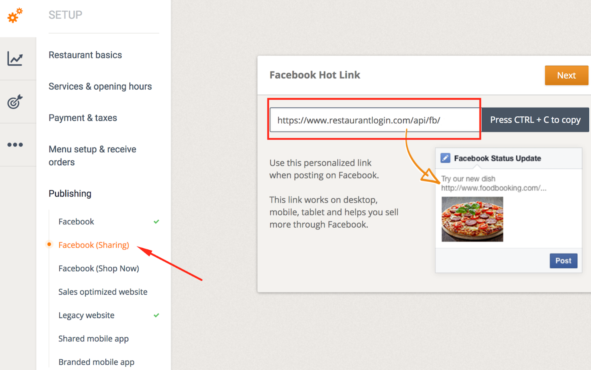 How to publish the menu to your Facebook page 16
