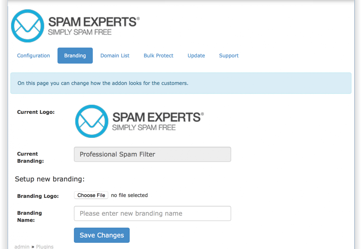 Fig. 13: Branding configuration of SpamExperts Module For DirectAdmin.
