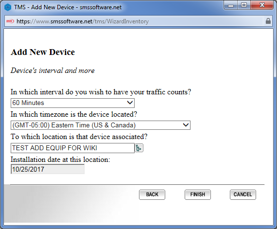 SMS Store Traffic — TMAS - STC W200 - How to add to equipment inventory