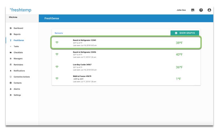 Support | SmartSense by Digi — Digi FreshTemp: Dashboard