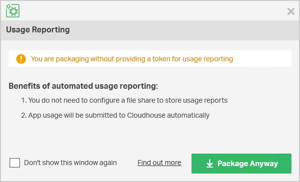 Usage Reporting screen