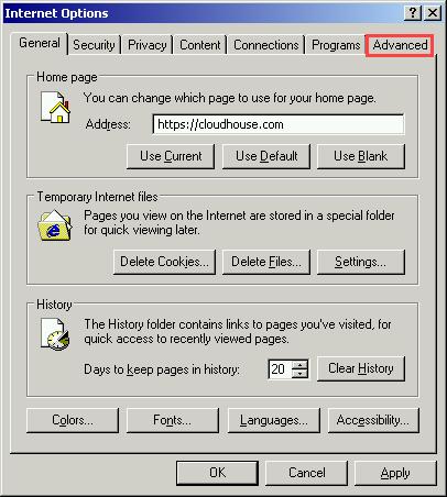 Click the Advanced tab.