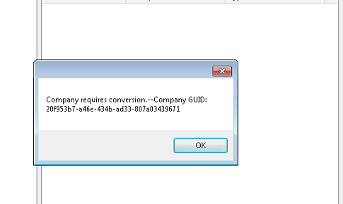 "Error: ""Company Requires Conversion —Company Guid:"" when configuring"