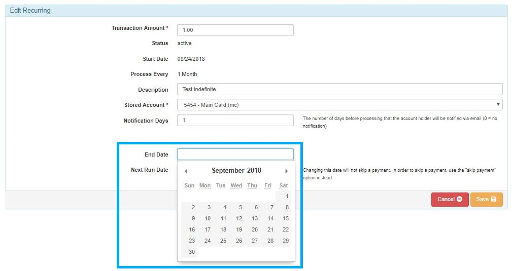 How do I change the end date of a recurring transaction in