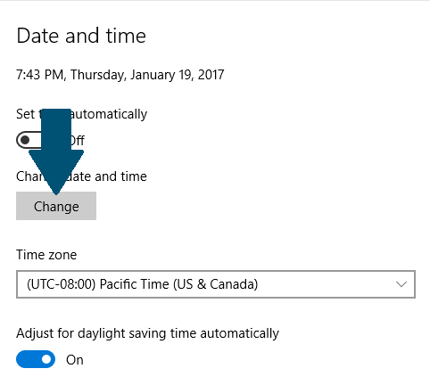 Set automatic time to off in Windows 10