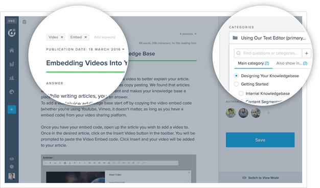 A screenshot of Helpjuice knowledge base editor