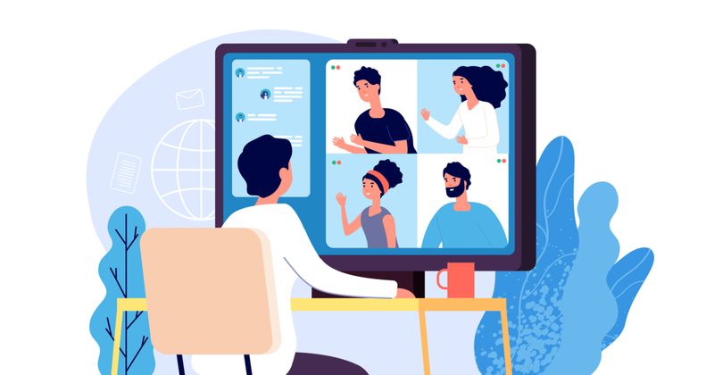 Zoom alternatives: an illustration of a person in a video conference
