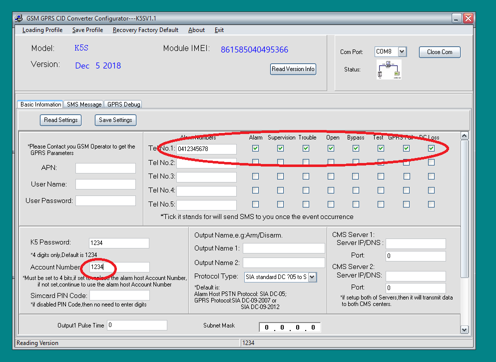 How to set up the WGAP864 alarm panel to work with the WGSMSC SMS