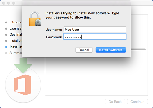 Enter your admin password to begin installing