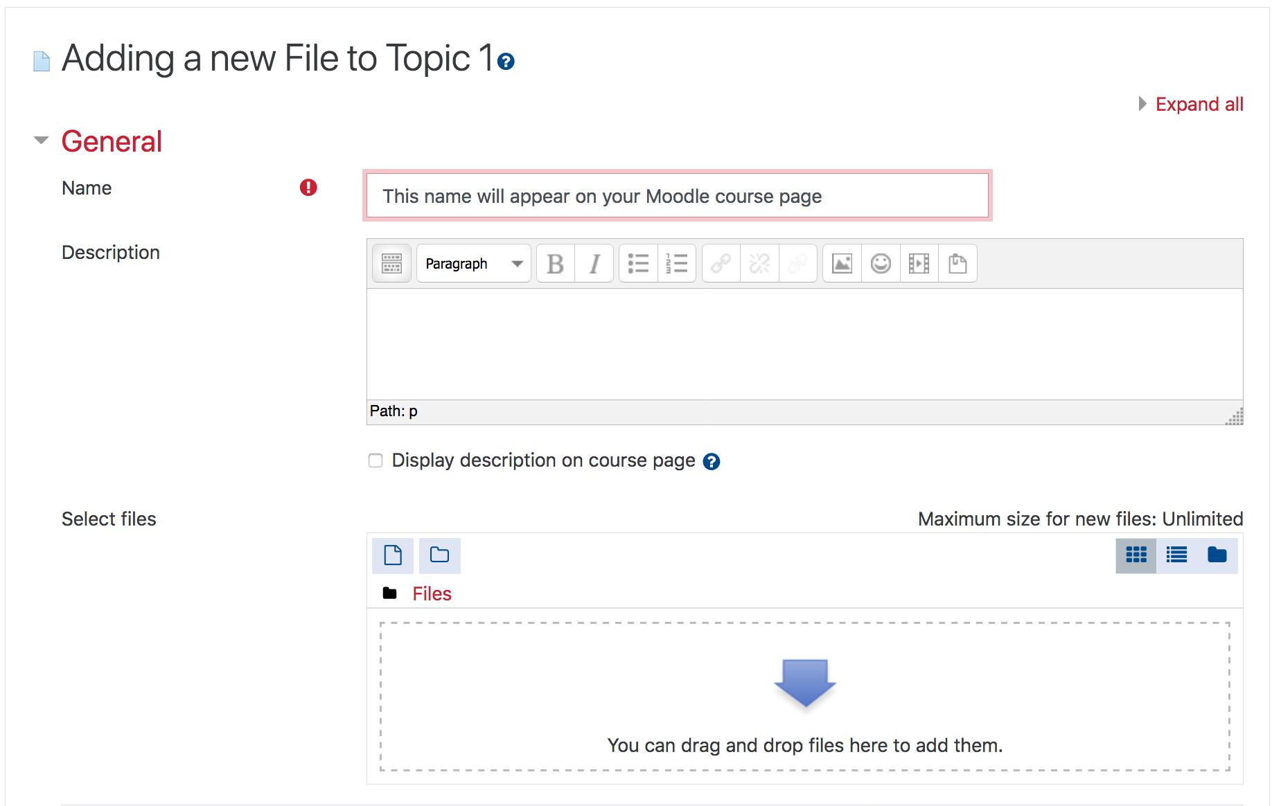 Screenshot of Adding a new file settings