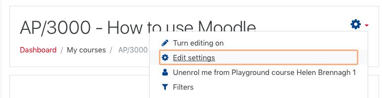 Screenshot of Edit settings selected in drop down menu