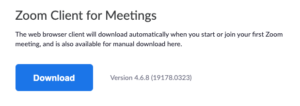 Zoom Client for Meetings download button.
