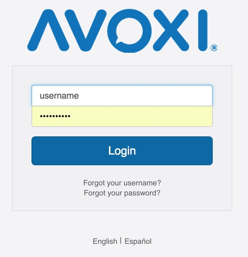 AVOXI Core Login Screen