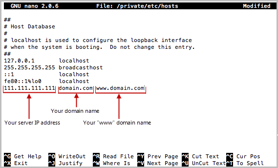 Example Hosting File Showing Example IP/Domain Info