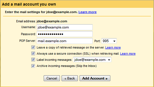 Gmail Mail Fetcher: Setting up a POP3 Account
