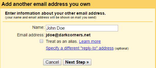 Gmail Mail Fetcher: Add New E-mail Address for Outgoing Messages