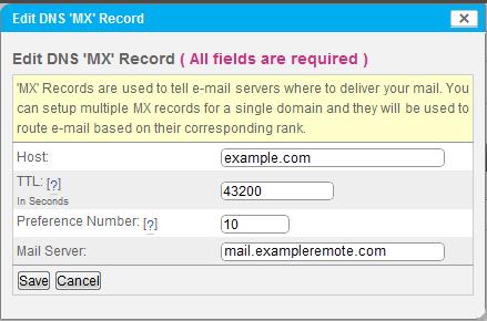 Edit MX Record using SiteWorx Remote Setup