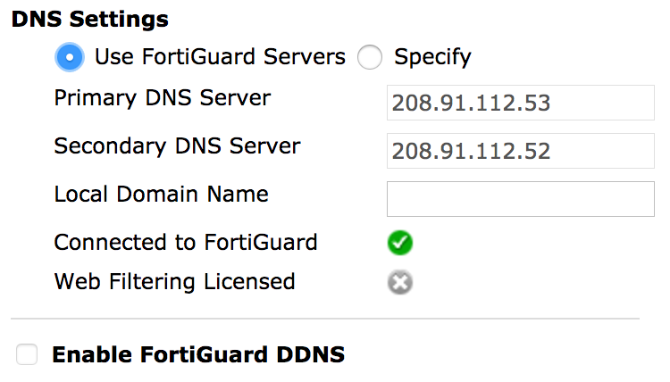 Configure DNS Settings on Fortinet FortiGate60D - Pilot