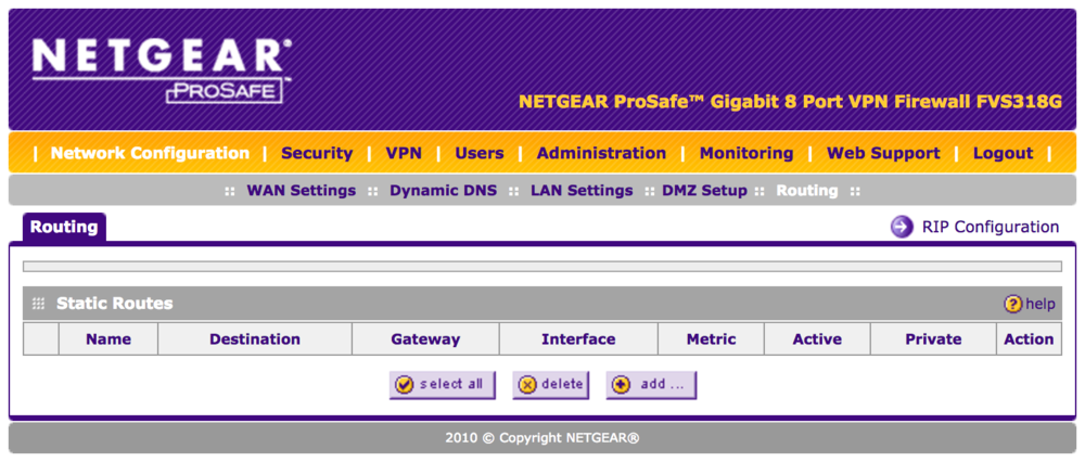 Configuring Static Routes on the Netgear FSV318G - Pilot