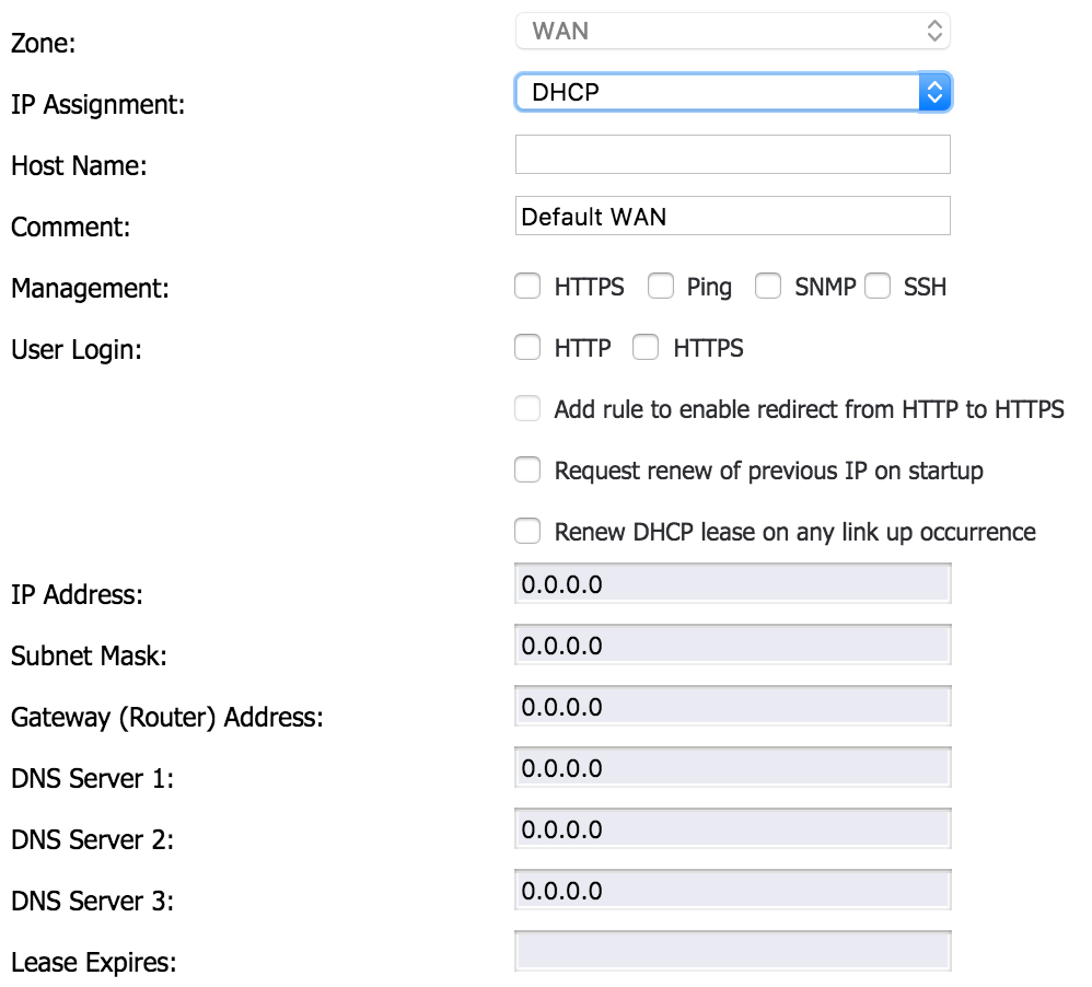 Configuring the WAN Port on the Sonicwall TZ 215 with a Dynamic IP