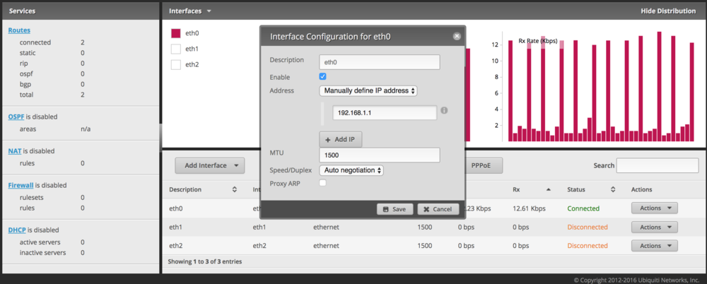 Configure a WAN interface on the EdgeRouter Lite using a