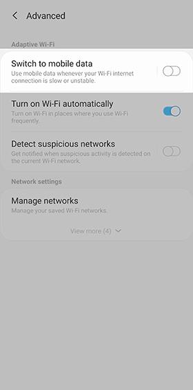 Samsung Galaxy S6 wi-fi settings