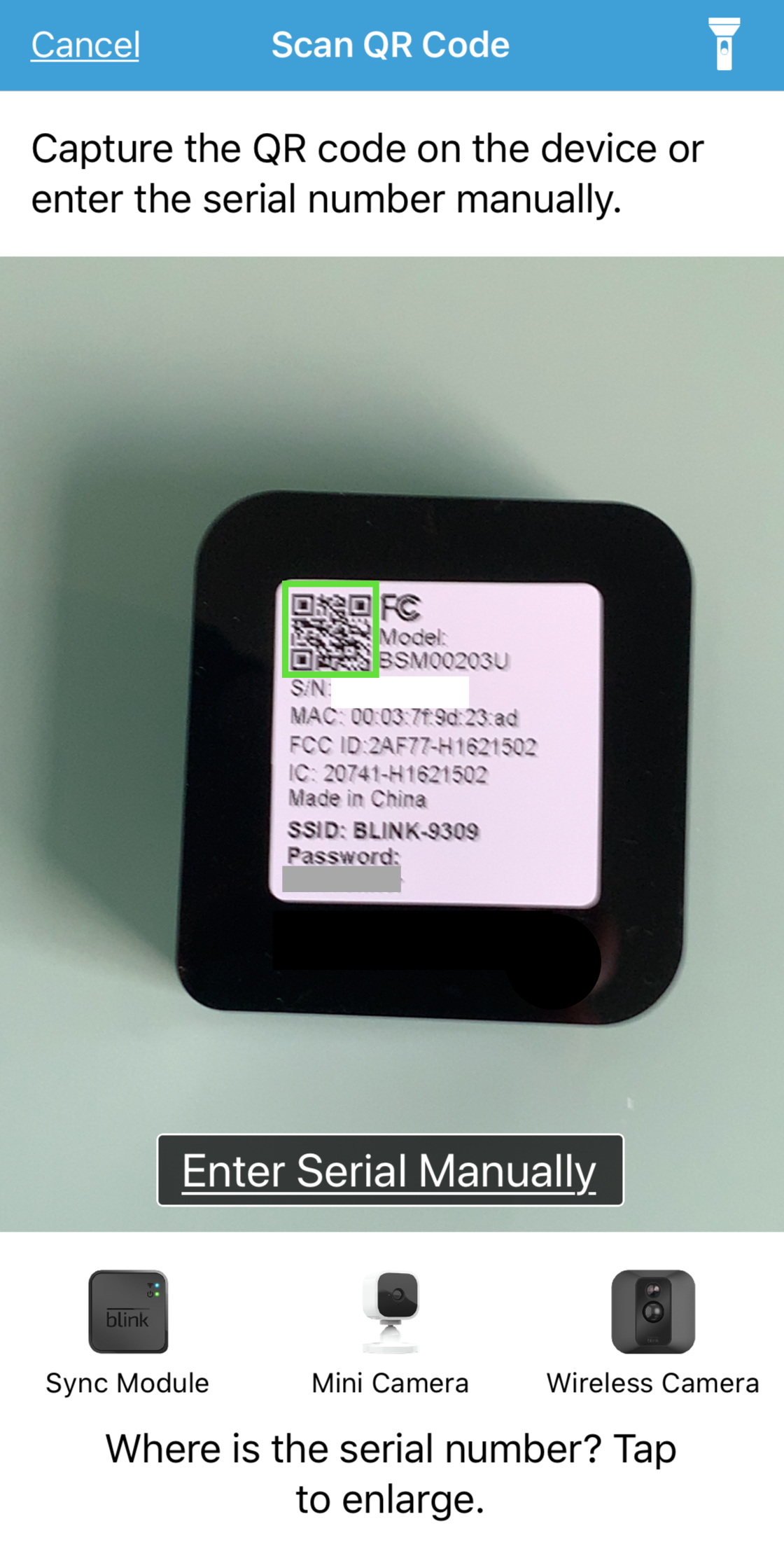 capture QR code screen showing camera view