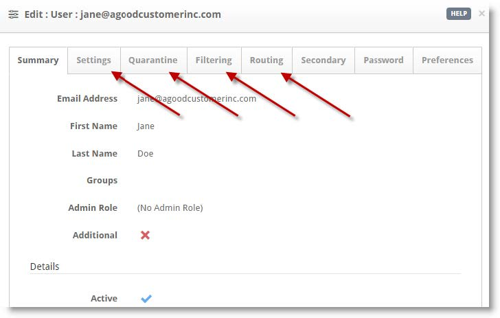 Optional user settings appear on the tabs in the user panel.