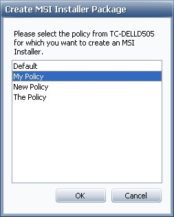 Select policy for installer package