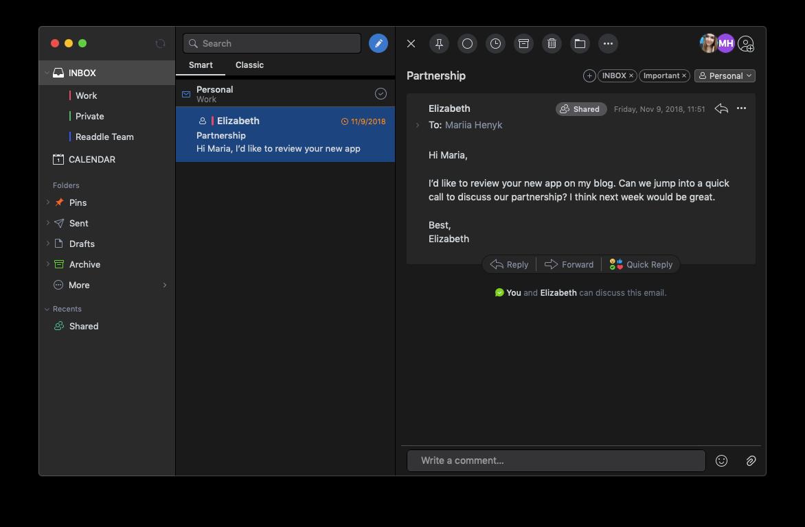 Dark Mode in Spark for Mac