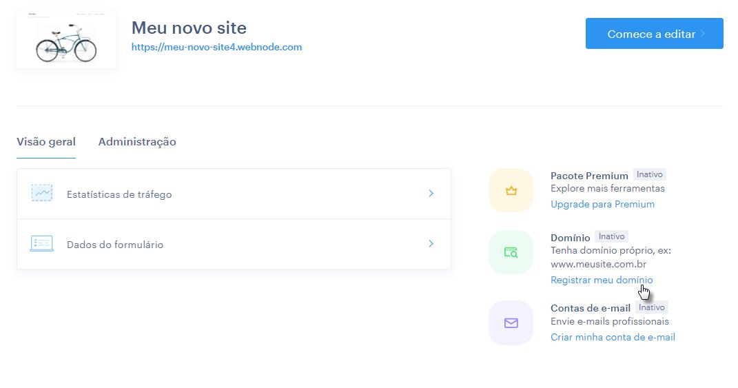 Registro de domínio no perfil de usuário Webnode