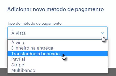 Configurando transferência bancária com Webnode