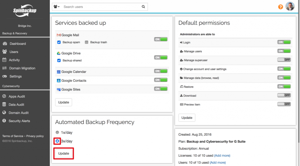 Spinbackup 3 day automated backup